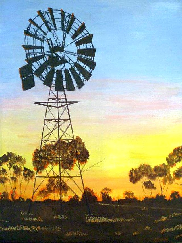 Windmill at Sunset by Carolyn Evans sm
