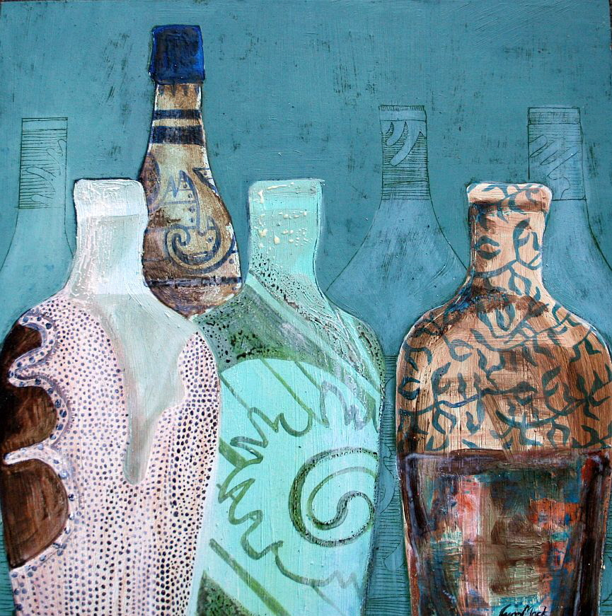 Barossa Bottles by Lynn Mack, oil on board 30x30cm, unframed $325 sms