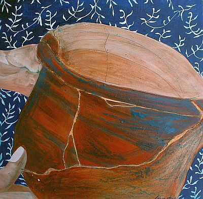 Etched pottery by Lynn Mack, oil on board 30x30cm, unframed $325 sms