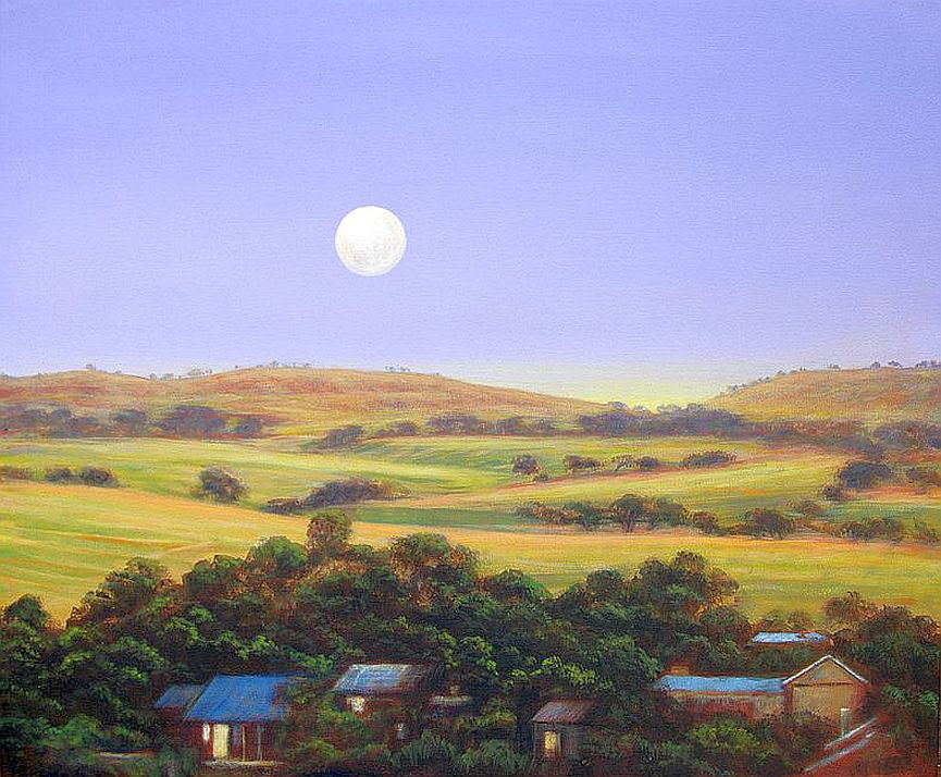 Full Moon over Kapunda by B J Moore Acrylic on Canvas 75 x 90cm sms