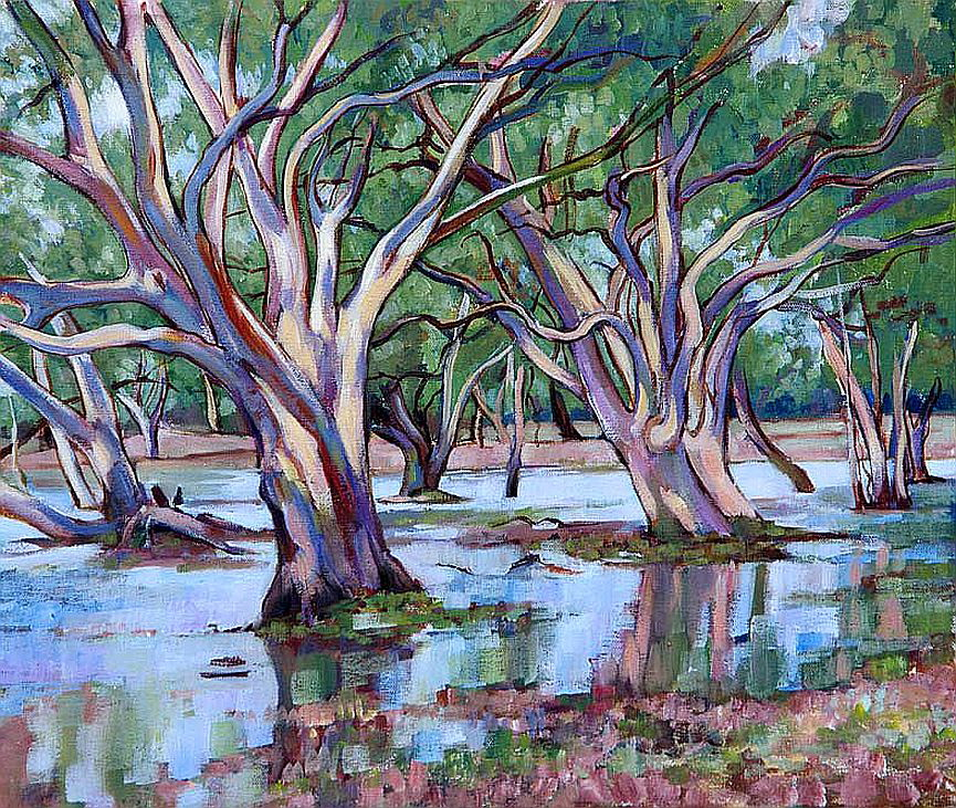 Kalimna Gums in Flood by Carmine Lake Acrylic on Canvas30 x 35cm sms