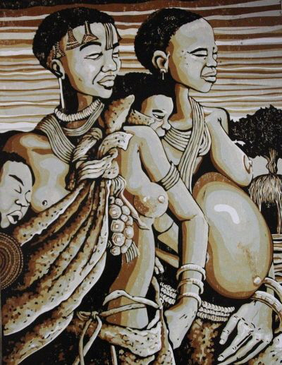 San women and children by Petrus Amuthenu. Cardboard Printing sm2