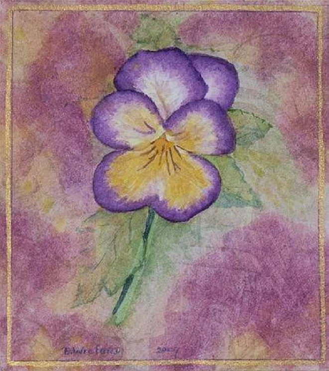 Beth Wreford �Purple Spring� water colour 14 x 16cm unframed