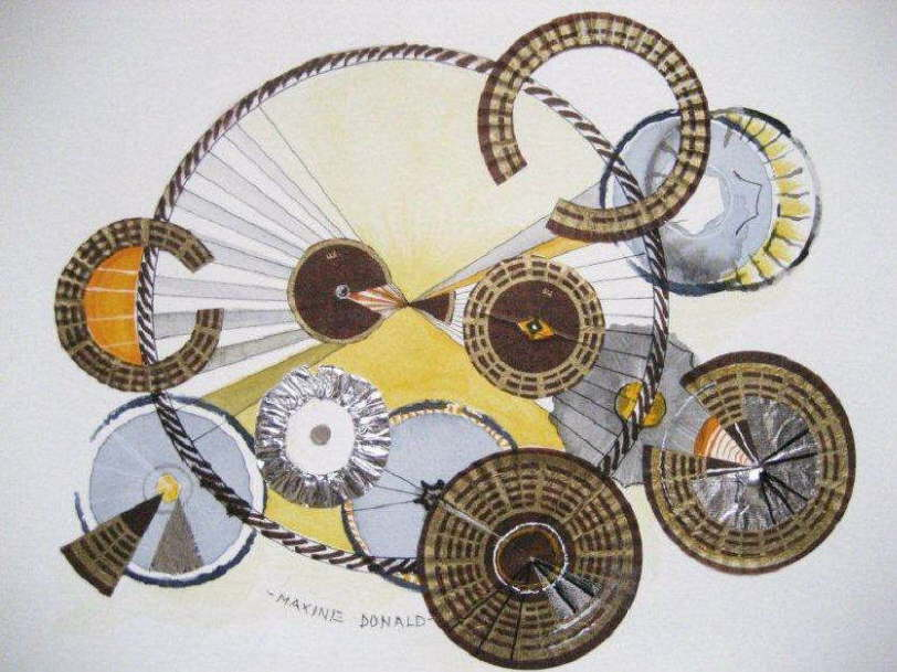 Maxine Donald �Ferrero Rocher Wheels� (Tribute to the tour down under) 38.5 x 32.5cm Framed, mixed media, - $140